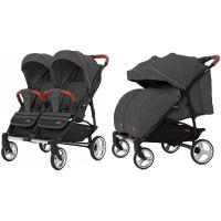 Прогулянкова коляска CARRELLO Connect CRL-5502 Serious Black для двійні +дощовик /1/ MOQ