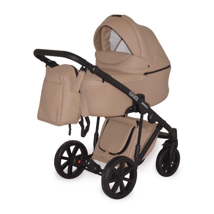 Универсальная коляска 2в1 Donatan Sonata Бежевая экокожа